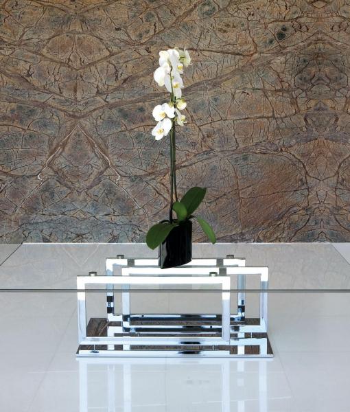 Excelsior tavolino basso in metallo e vetro