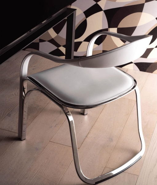 Fettuccini armchair covered with full grain leather