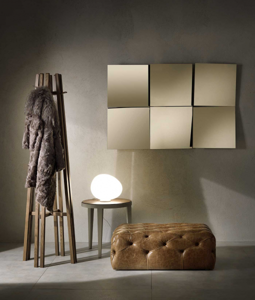 Fashion rectangular composition of 6 bronzed square mirrors