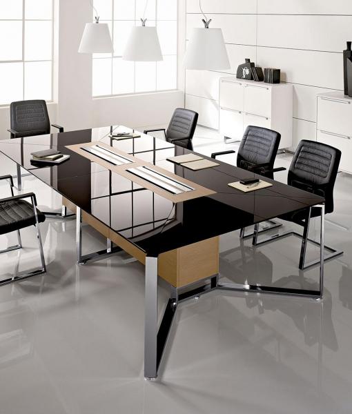 Tavolo Riunione Piano Vetro Executive : Meet tavolo da riunione in legno e vetro italy dream design