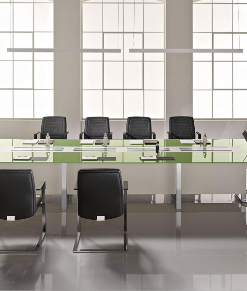 Meet squared meeting table in crystal and wood 480x160