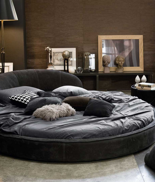Jazz round bed leather covered