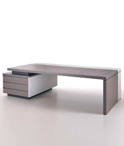 Kefa di Matteo Nunziati scrivania direzionale in rovere titanio e cuoio beige con cassettiera