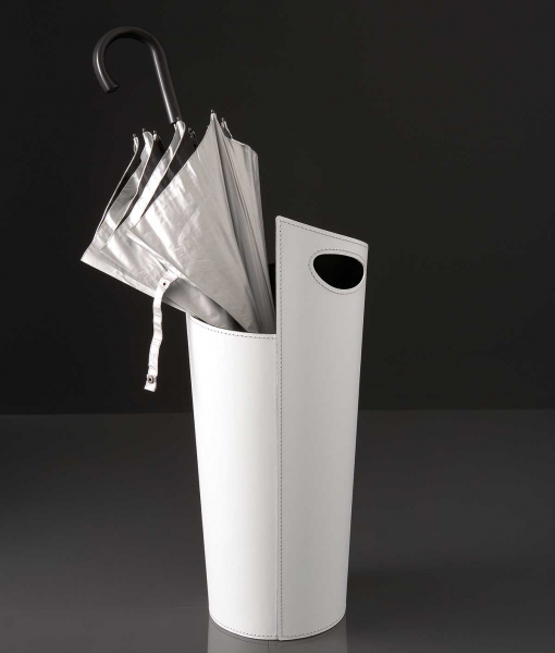 Ombo umbrella stand in regenerated leather - white