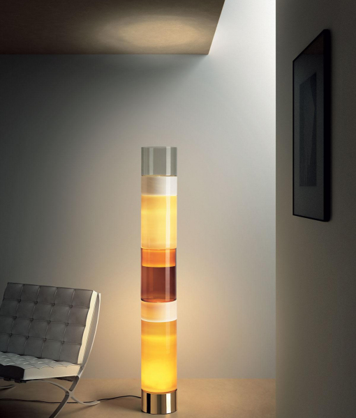 Stacking C Murano hand blown glass floor lamp