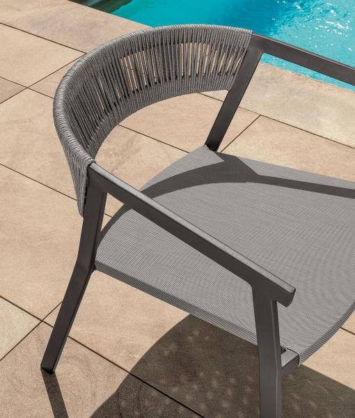 ken-sedia da giardino con struttura in alluminio grigio e seduta in textilene grigio