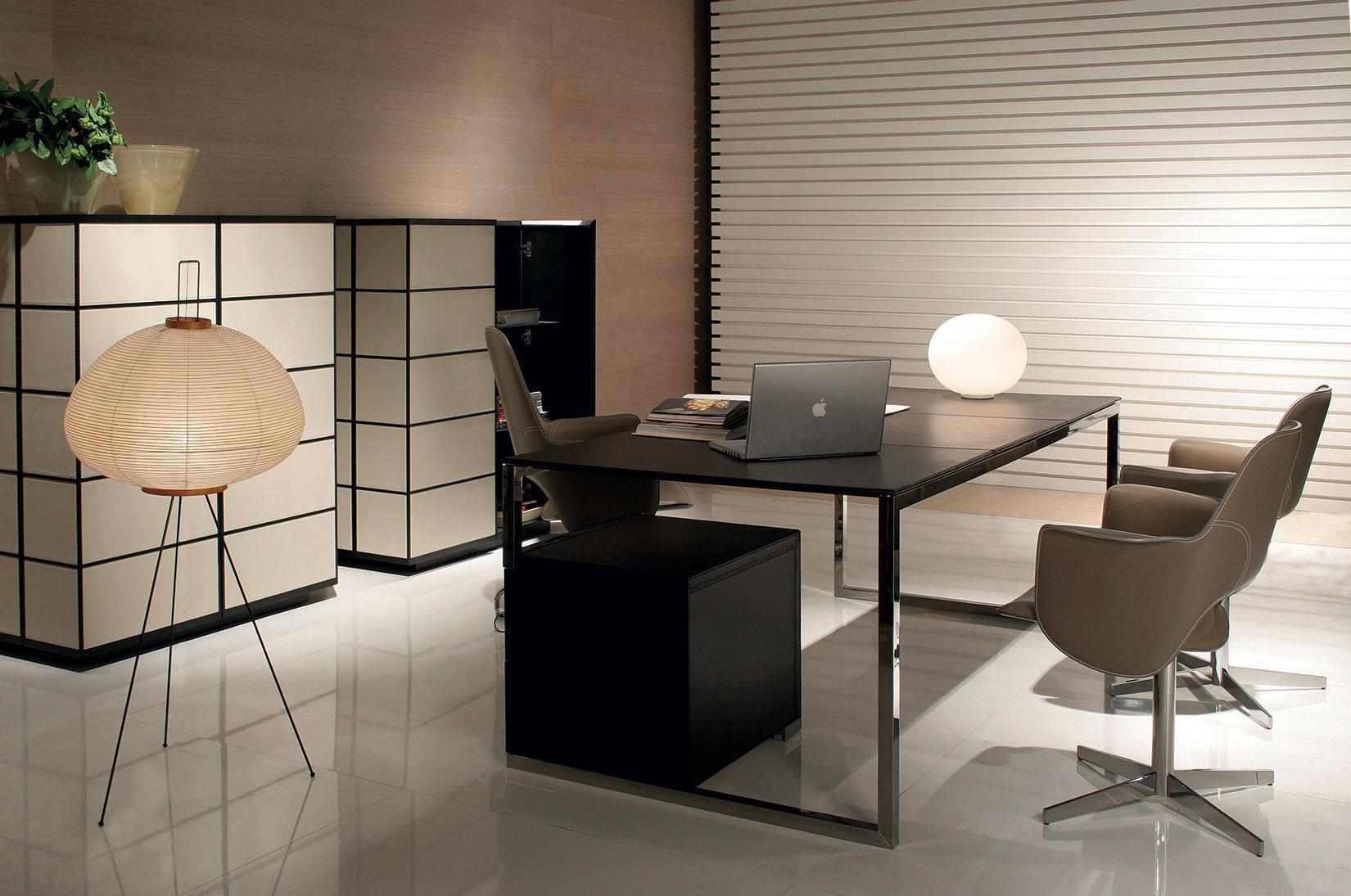 Tetris scrivania direzionale in metallo e cuoio italy for Scrivania vetro ufficio