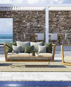 Outdoor lounge set in teak and steel complete with 1 sofa, 2 armchairs and 1 coffee table. Free shipment on our garden furniture. Shop online for patio set.