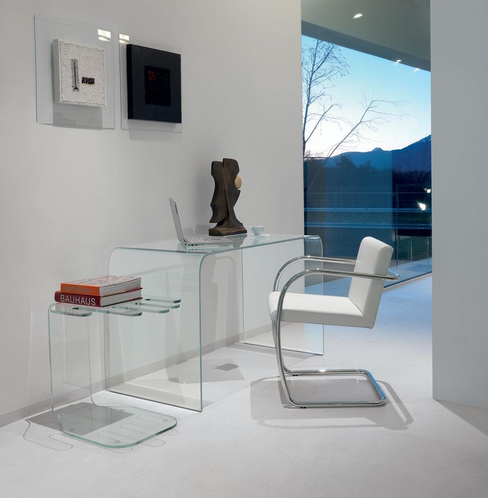 pont en verre bureau blanc verre informatique moderne noir ordinateur secretaire meubles design contemporains ligne haut gamme vente site italiens qualité