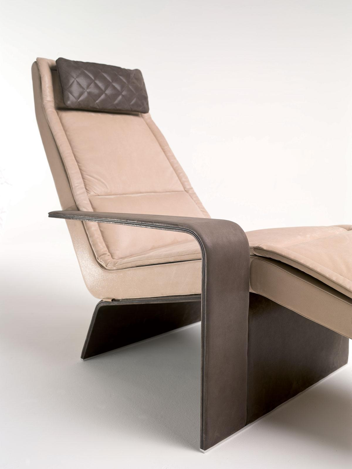 Ala chaise longue imbottita con bracciolo - Italy Dream Design