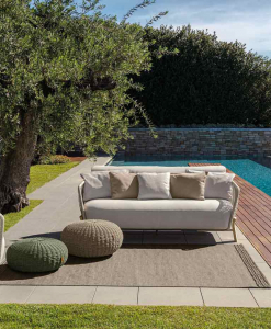 Luxurious outdoor lounge set designed by Ludovica & Roberto Palomba with Accoya natural wood and beige upholstery. Online shopping and free home delivery.