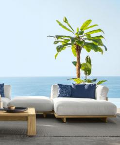 Salotto da esterno design lussuoso in legno e tessuto bianco. Vendita online di articoli made in Italy per giardini e terrazze. Divani, poltrone, tavolini...