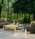 Arco outdoor lounge in Accoya with grey upholstery and Ludovica + Roberto Palomba design. Comfortable and luxurious furniture for your prestigious house.
