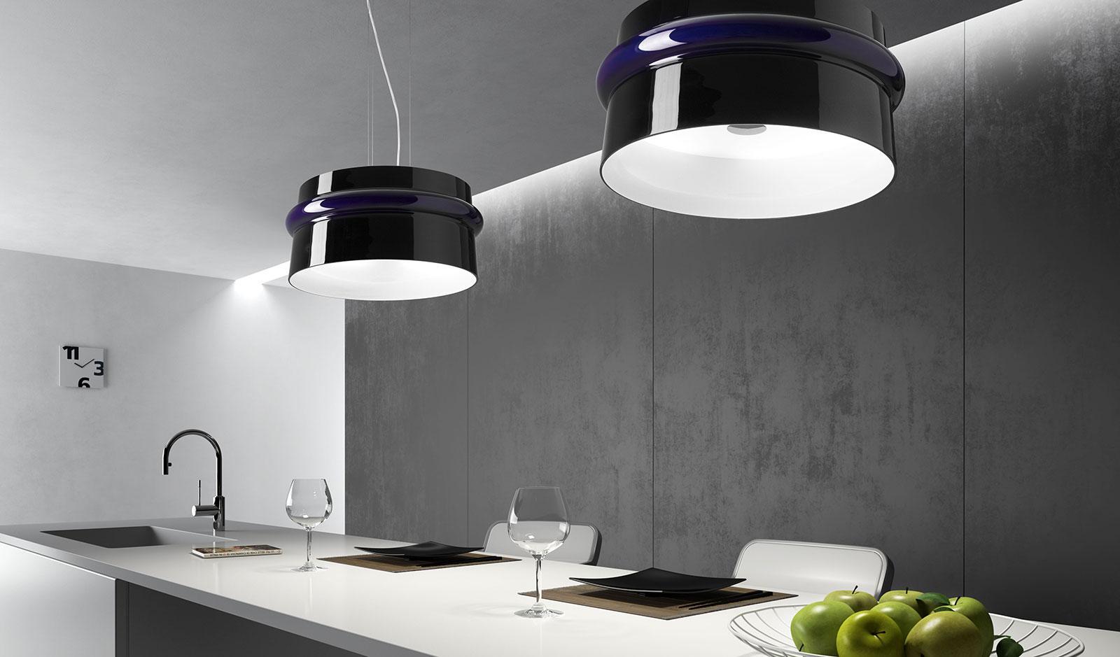 suspension verre soufflé murano lustre luminaire abat jour original plafonnier made in italy en ligne qualité luxe illumination luminaires italien noire