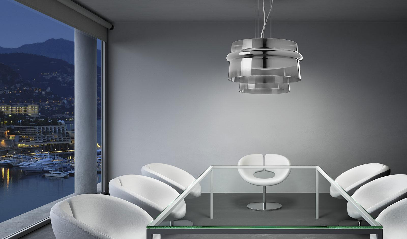 Aro lampada a sospensione in puro cristallo soffiato - Lampadari cucina design ...
