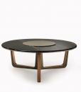 Table ronde de repas made in italy. Plan en marbre et pied en bois et cuir. Vente en ligne de meubles design haut de gamme avec livraison gratuite.