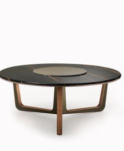 Tavolo da pranzo rotondo made in italy. Tavolo di lusso in marmo nero sahara e noce canaletto. Vendita online di arredamento italiano con consegna gratuita.