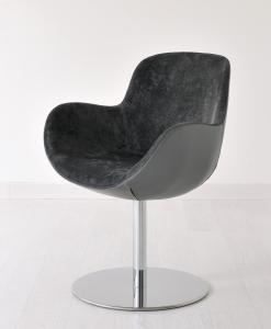 Swivel armchair with flat disk base. Chrome round metal base, velvet and leather covering. Design by Edi & Paolo Ciani. Luxurious furniture. Free shipment.