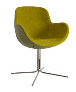 Shell seat covered with luxurious velvet and leather. Metal 4-rays base and several colours available. Perfect armchair at home as well as in contract spaces.