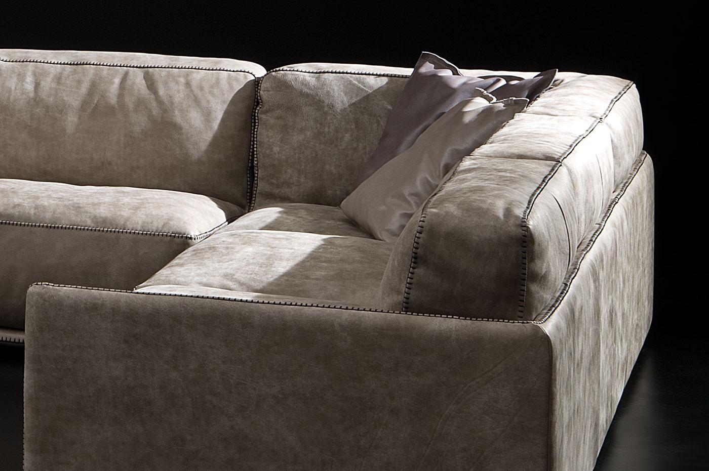 Border divano in pelle ad angolo italy dream design - Divano ad angolo in pelle ...