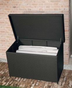 Box coffre de jardin en résine synthétique. Rangement extérieur. Vente en ligne d'ameublement et complément outdoor de haute qualité.