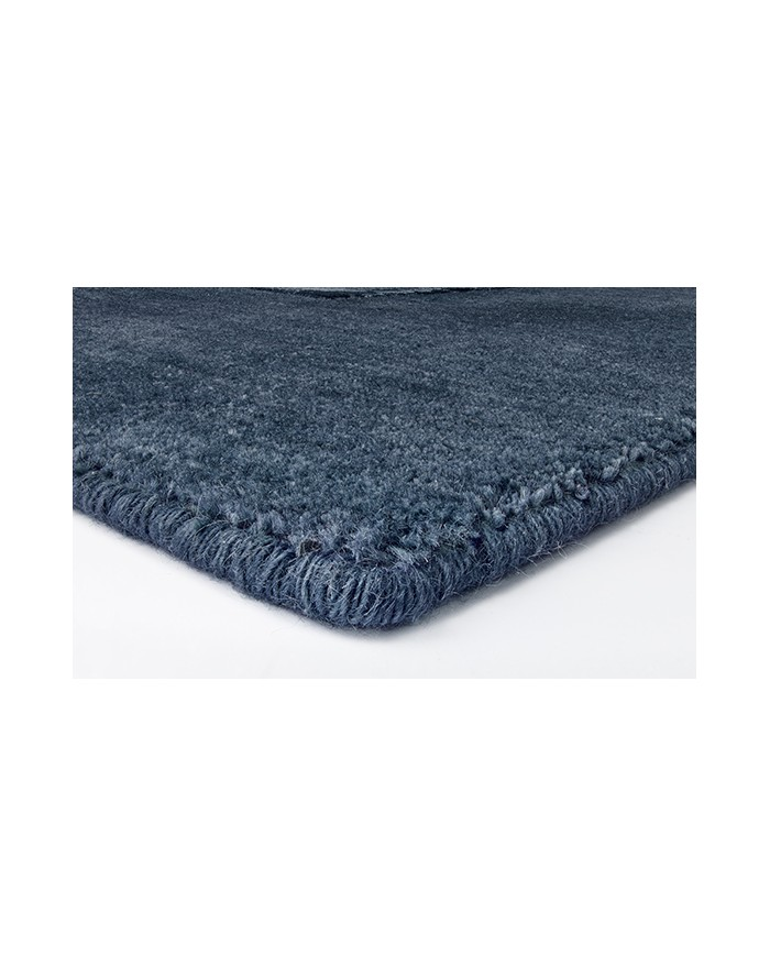Rectangular modern rug in Himalayan wool and viscose. Practical and hypoallergenic, luxurious and original, blue shades. Online shopping, free home delivery
