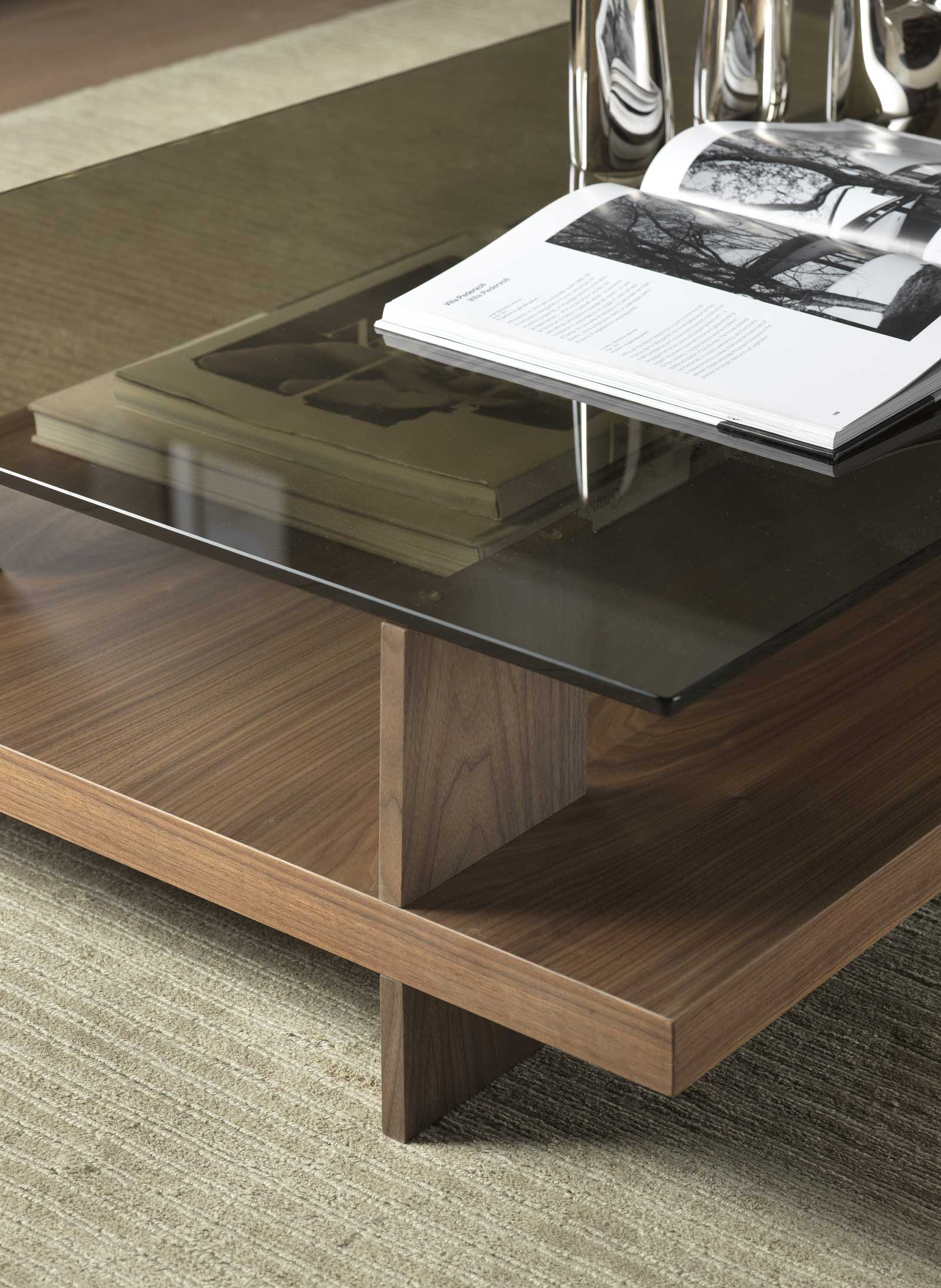 Coffee table in canaletto walnut and bronzed glass.