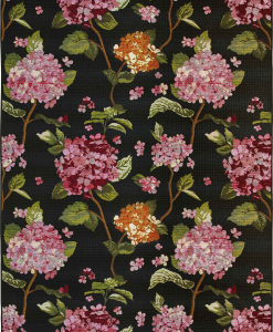 Hydrangeas flowers on a black background make this outdoor rug so elegant. A very special furniture complement for your home. Online shopping, Free delivery