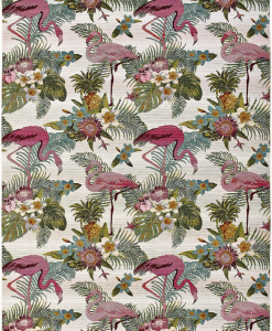 A collection perfect for the most refined outdoor spaces. This rectangular garden rug shows pink flamingos and flowers on a white background. Free delivery.