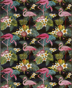Pink flamingos, flowers and leaves on a black background. A rectangular outdoor rug for the most refined gardens, terraces or poolside spaces. Free delivery