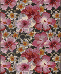 Big hibiscus flowers on a black background create a beautiful rectangular outdoor rug. Online shopping and free delivery. Visit us to get luxury furniture.