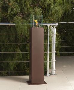 Camino al bio etanolo da esterno in acciaio color corten. Arredamento da giardino e biocamini di alta qualità. Vendita online.