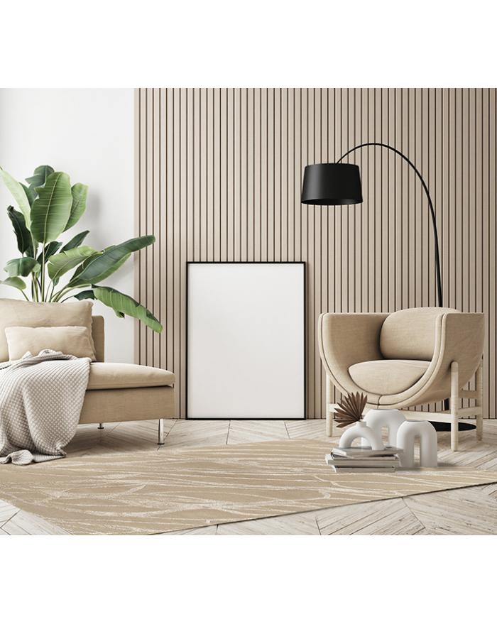 Tappeto beige moderno in lana, cotone e seta. Vendita online di tappeti di lusso design e contemporanei con consegna gratuita. Tappeti originali geometrici.