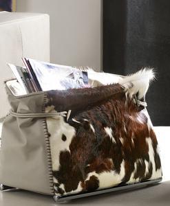 borsa porta riviste salotto pelle cuoio cavallino pony mucca bovino pieno fiore anilina made in italy lusso arredamento casa yacht