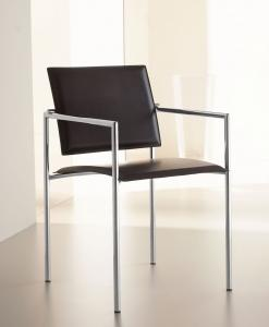Chromed metal frame armchair, armchair back leather modern online office xl furniture stores shops choice design delivery factors sale home homestore house italia market makers
