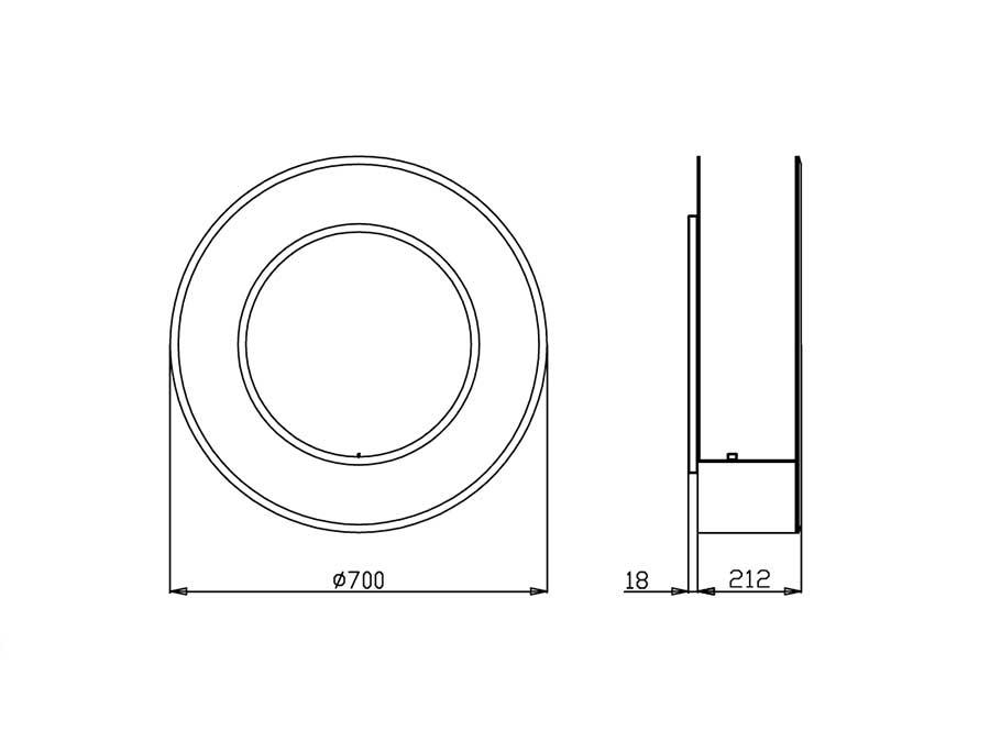 Circle round bio ethanol fireplace - technical scheme