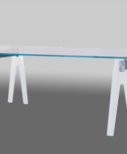Gian Paolo Venier designed this pure and aesthetic rectangular table. Aluminium frame and extra clear glass feet and top. Online shopping. Free shipment.
