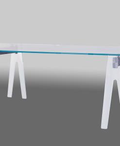 Gian Paolo Venier disegna Clip, tavolo in vetro e alluminio. Piano rettangolare e gambe extra chiare. Cm. 220 x 90. Spedizione gratuita.