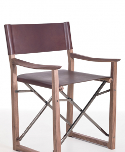 Design by Umberto Asnago. Walnut veneer wood, high quality full grain leather and chrome plated steel with black finish. A luxurious folding director chair.