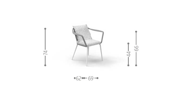 Out of the ordinary outdoor dining armchair. Aluminium frame, rope weave, padded cushions and L+R Palomba design! Online shopping and free home delivery.