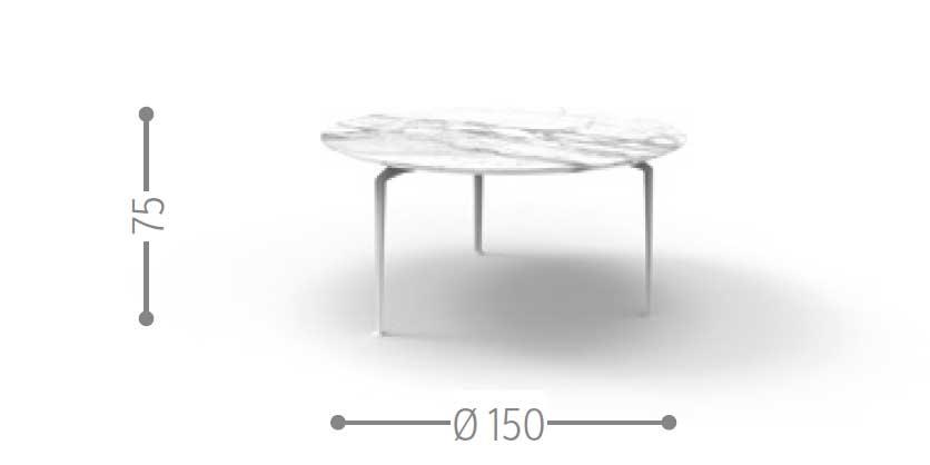 Design L+R Palomba. Piano rotondo in marmo calacatta bianco. Piedi in alluminio pressofuso. Adatto ad un uso esterno. Vendita online e consegna a domicilo.