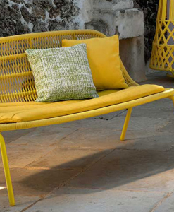 Aluminium frame, intertwined ropes yellow colour. Ludovica + Roberto Palomba design. An original love seat sofa for outdoor use. Home delivery.