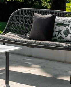 Original grey outdoor love seat designed by L+R Palomba and handcrafted with aluminium and an interweaving of synthetic rope. Online shopping, home delivery