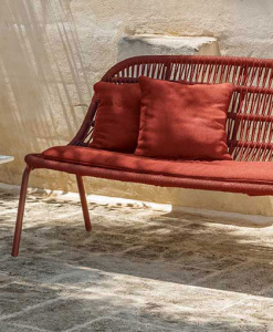 A wonderful red outdoor love seat sofa designed by Ludovica + Roberto Palomba. Aluminium frame and intertwined synthetic ropes. Free home delivery.