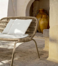 Taupe outdoor love seat by L+R Palomba. Made in Italy grey sofa with beige aluminium frame and sand intertwined ropes. Shop online. Free home delivery.