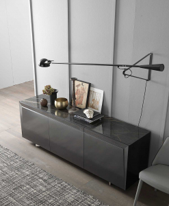 3 doors sideboard designed by Andrea Lucatello and made in Italy. Black ceramic top, anthracite grey frame. Glass shelves, no handles. Free home delivery.