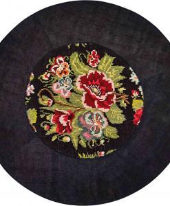 tappeto rotondo cm. 208 canapa kilim turco annodato a mano cristalli swarovski nero grande geometrico lavabile moderno morbido misura sintetico texture