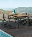 Designed by Marco Acerbis, Dominus is a rectangular outdoor extendable table very original. Teak and aluminium, generous dimensions. Free delivery.