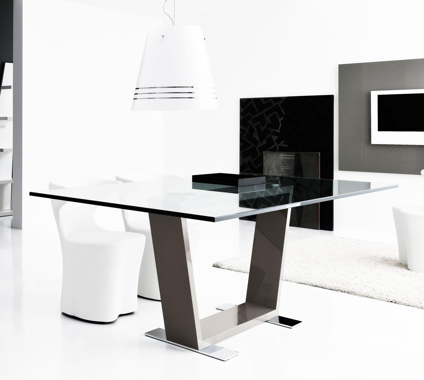 Doly tavolo rettangolare in legno e vetro - Italy Dream Design