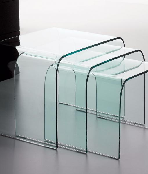 Driade set di tavolini in vetro curvato